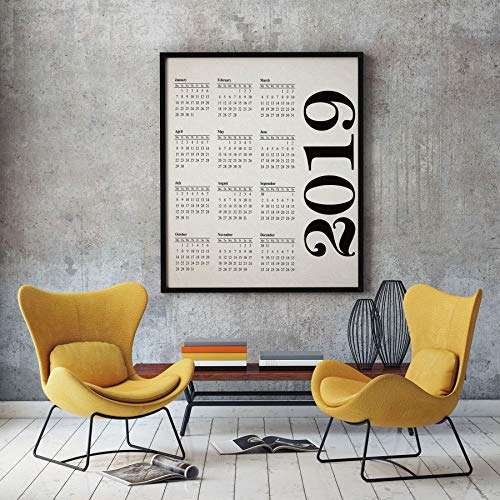 Erti567an 2019 Calendario 2019 de pared 2019 Planificador de pared 2019 Planificador 2019 Decoración 2019 Calendario mensual 2019 Calendario Arte Calendario 2019 Calendario 2019