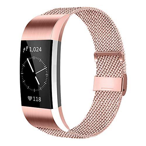 AK Für Fitbit Charge 2 Armband (2 Größen), Metall Mesh Magnetverschluss Edelstahl Ersatzband für Fitbit Charge 2 (Rosa, Large)