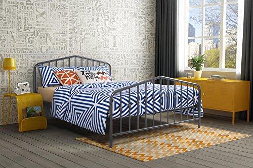 Novogratz Bushwick Metal Bed, Queen, Grey
