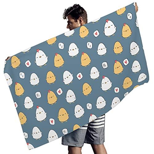 Ballbollbll Japonés lindo de dibujos animados pollo animal Toallas de playa para la música Partido de la lavadora Safe Beach Manta para hombres mujeres blanco 150x75 cm