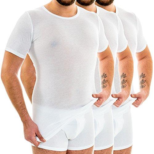 HERMKO 3847 3er Pack Herren extralanges Kurzarm Shirt (+10cm) aus 100% Bio-Baumwolle, Größe:D 6 = EU L, Farbe:weiß