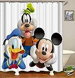 chenyuuu Lindo Personaje de Dibujos Animados Mickey Mouse Donald Duck Linda Cortina de Ducha, Impermeable, de Secado rápido, sin decoloración, fácil de Limpiar, 12 Ganchos. 180X180Cm