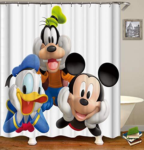 chenyuuu Niedliche Zeichentrickfigur Mickey Mouse Donald Duck Niedlicher Duschvorhang, wasserdicht, schnell trocknend, lichtecht, leicht zu reinigen, 12 Haken. 180X180Cm
