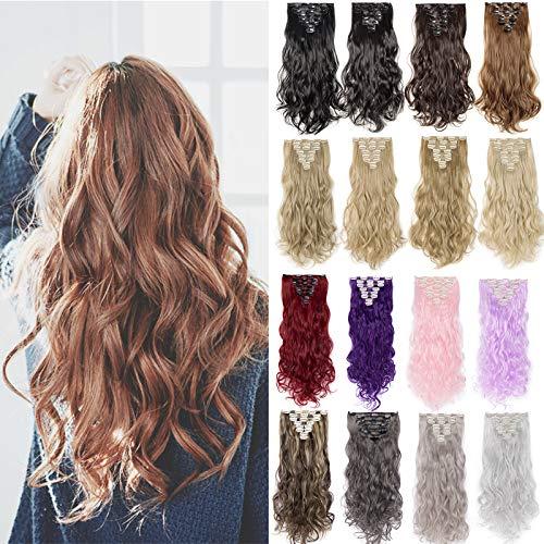Silk-co Clip in Extensions wie Echthaar Haarteile Extension 8 Teile 18 Clips Günstig Haarverlängerung 43cm-140g Gwellt Hair Extensions #Hellbraun