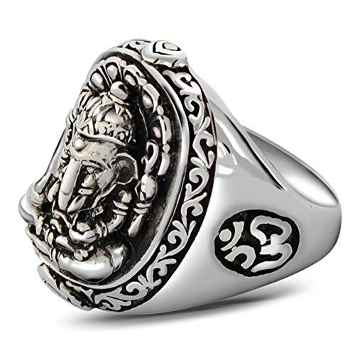 AnazoZ Men S925 Sterling Sivler Rock Hindu Elephant God Band Ring Lucky Jewelry Silver Size K 1/2