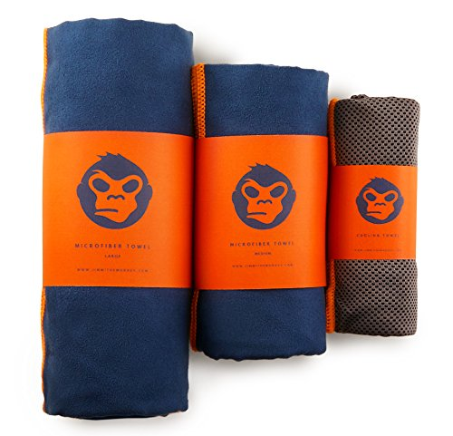 Jimmi the Monkey Mikrofaser-Handtuch 3er–Set: Large, Medium + Cooling Towel (Orange)
