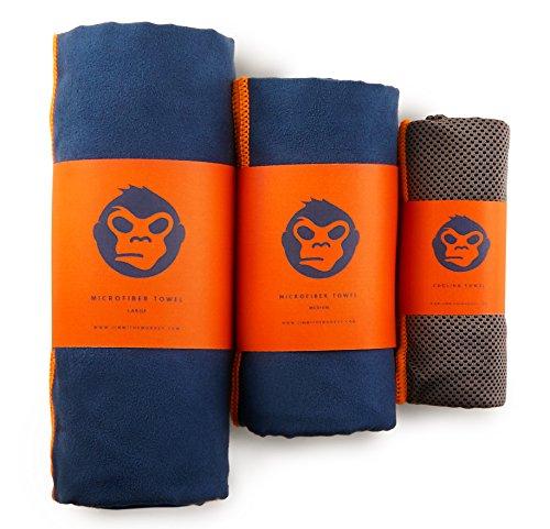 Jimmi the Monkey Mikrofaser-Handtuch 3er–Set: Large, Medium + Cooling Towel (Orange/Blau)