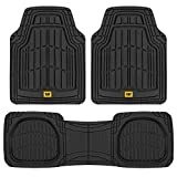 1966 Ford Mustang Accessories & Parts - Caterpillar CAT (3-Piece) Deep Dish Heavy Duty Odorless Rubber Floor Mats, Total Protection Durable Trim to Fit Liners for Car Truck SUV & Van, All Weather, 01-Black (CAMT-1003-BK)