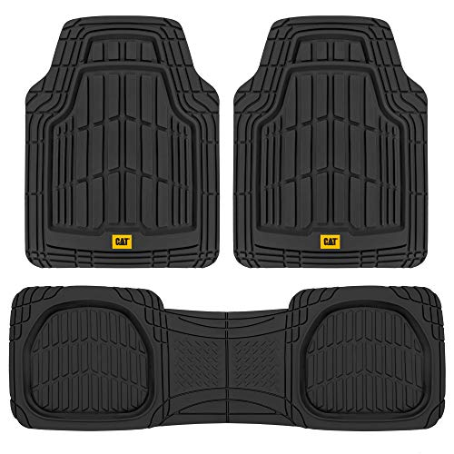 CAT (3-Piece) Deep Dish Heavy Duty Odorless Rubber Floor Mats, Total Protection Durable Trim to Fit Liners for Car Truck SUV & Van, All Weather