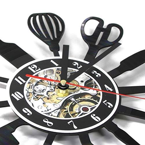 Decoración del hogar Cubiertos de Cocina Vintage Disco de Vinilo Arte de la Pared Cuchara Tenedor Cuchillo Cocina Reloj de Pared Vajilla Reloj Decorativo Idea de Regalo Gourmet