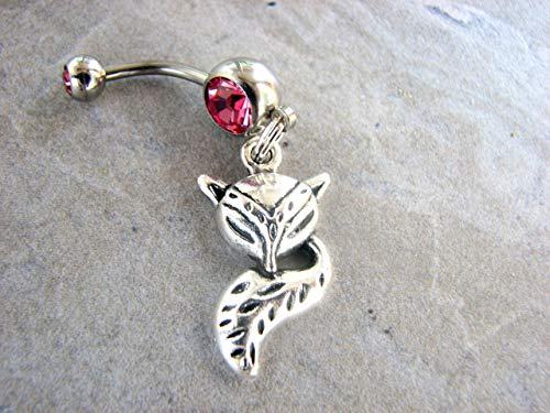 Silver Fox Belly Ring 14GA Surgical Steel Belly Bar with your choice of Colors