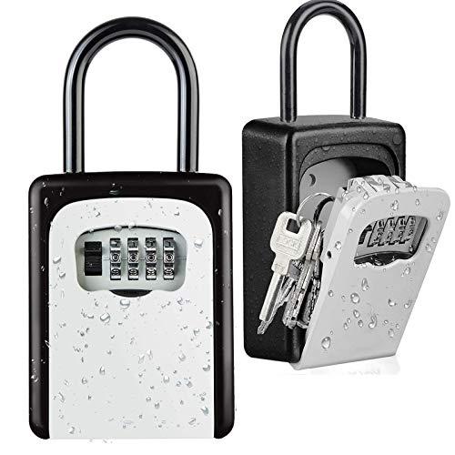 Lanboo Key Lock Box [US Company] Wall Mounted Outside Combination Key Safe Box, Door Locker, Weatherproof, 6 Key Capacity, Lockbox with Code for House Key Storage, for Home, Office, School Spare Keys