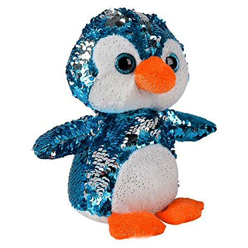 Sequin Plush Penguin~Adorable Stuffed Animal~Reversible Sequins Blue to Silver