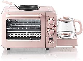 Mini Horno + Pot, 8L Mesa Tres En Uno Horno, Desayuno, Tostadora, Bebida Caliente Pot Leche Caliente + Frito Asado Hornear + + Calefacción (Rosa)