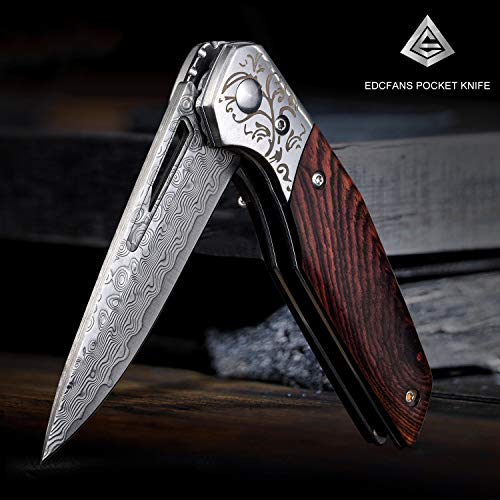 edcfans EDC Folding Pocket Knife: Damascus Steel Blade, Wooden Handle, Ball Bearing Pivot, Locking Liner, Sheath & Pocket Clip for Everyday Carry, Cool Knives for Outdoor Camping Hunting