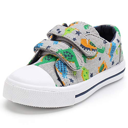 K KomForme Toddler Boys & Girls Shoes Kids Canvas Sneakers with Cartoon Dual Hook and Loops