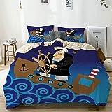 Juego de funda nórdica beige, capitán en barco con ilustración de estilo de dibujos animados de océano ondulado, diseño de aventura marina, juego de cama decorativo de 3 piezas con 2 fundas de almohad
