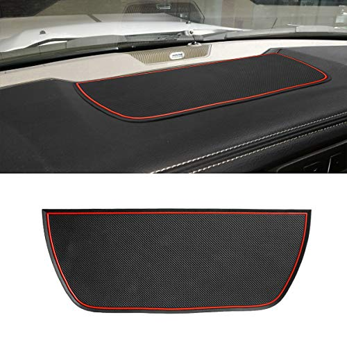 Auovo Dashboard Mat Liner for Dodge Ram Pickup 1500 2500 3500 2011-2018 Interior Accessories Car Dash Trim Rubber Pad Cover Soft Tray(1 PCS) (Red Trim)
