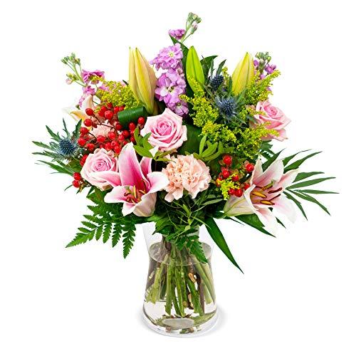Blumenstrauß Blütenfreude, Lilien, Levkojen, Rosen, Disteln, Nelken, Solidago, Schnittblumen, Blumenversand, gratis Blumenvase, 7-Tage-Frischegarantie,Versandkostenfrei bestellen