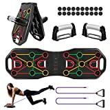 Fostoy Push Up Board, Upgrade 9 en 1 Plegable y Multifuncional Tabla de Flexiones con Asas y Bandas...