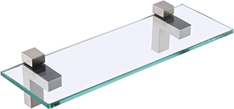 KES Bathroom Shelf, Tempered Glass Shelf 14 Inch 8MM-Thick Wall Mount Rectangular, Brushed Nickel Bracket, BGS3201S35-2