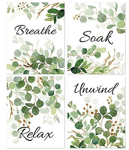 KAIRNE Green Leaf Art Print,Relax Soak Wall Art Canvas,Watercolor Style...