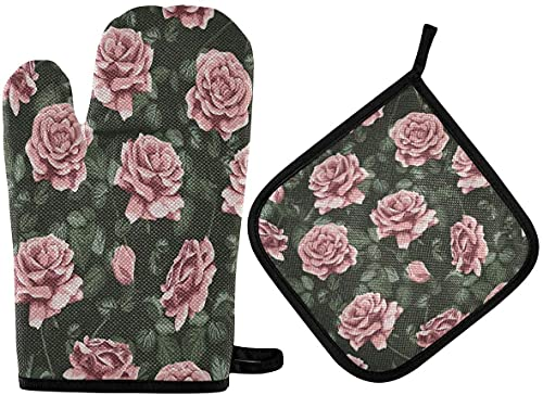 WXM Guantes de horno y hojas vintage con diseño de rosas y hojas y almohadillas de aislamiento, almohadillas profesionales resistentes al calor e impermeables y guantes para hornear, juego de 2 piezas