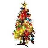 Albero di Natale, Outgeek 60cm (24in) Albero di Natale artificiale con Pinecone Piccola Santa Apple Ribbon Stella Ornamenti String Light