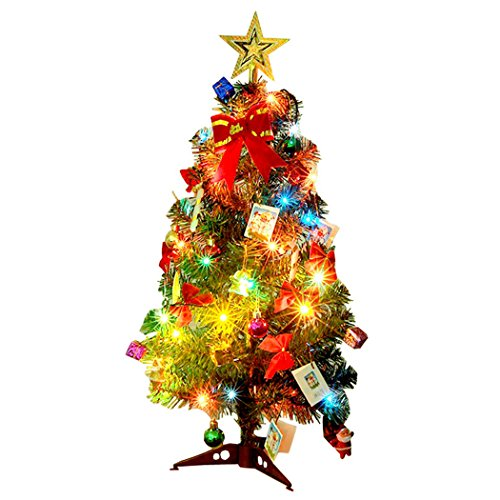 Outgeek Christmas Tree, 60cm (24in) LED Artificial Christmas Tree with Pinecone Small Santa Apple Ribbon Star Ornaments String Light