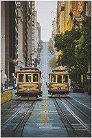 HDサンフランシスコカリフォルニア-狭い通りのケーブルカー9006864(52x38cmの大人のためのプレミアム500ピースジグソーパズル)