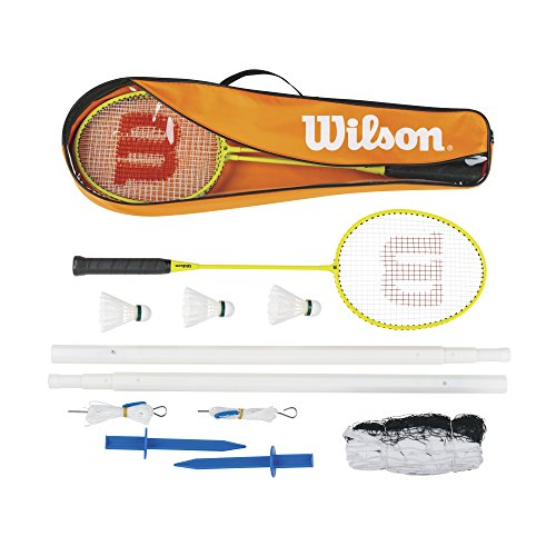 Wilson WRT8754003 Kit de Badminton, Set 4, Unisexe, 4 Raquettes, 3 Volants en Plume, 1 Filet, 2 Bâtons télescopiques, Supports de Fixation et Sac de Transport