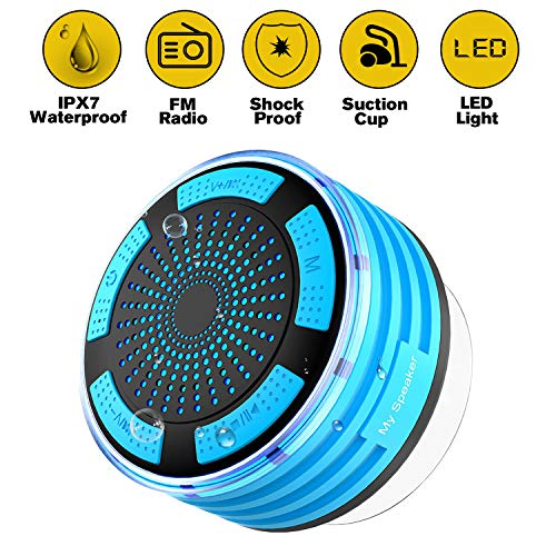 Shower Radios Wireless Waterpoof Bluetooth Speaker with Light,IPX7 FM Radio,Suction Cup and Super Bass for Bathroom,Outdoor,Beach,Pool