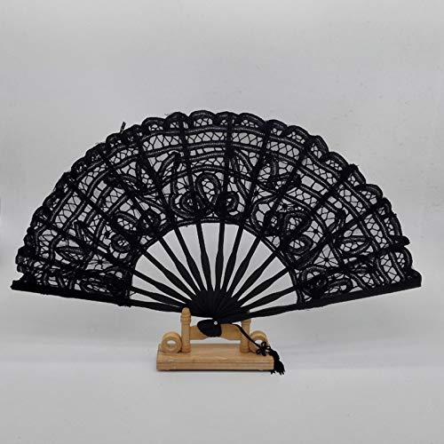 XKMY Abanicos de mano de encaje para mujer, color negro, para manualidades, abanico de bambú personalizado de decoración de boda (color: negro, tamaño del abanico: 26,7 cm)