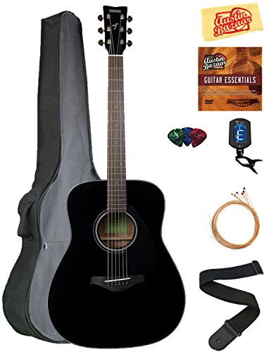 Yamaha FG800 Solid Top Folk Acoustic Guitar Bundle with Gig Bag, Tuner, Strings, Strap, Picks, Austin Bazaar Instructional DVD, and Polishing Cloth - Black