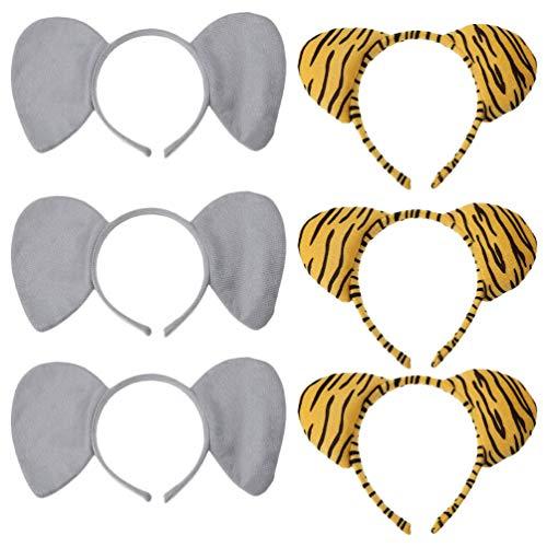Lurrose 6 Pièces Animaux Oreilles Bandeau Éléphant Tigre Oreille Bandeaux Zoo Animal Oreilles Bandes De Cheveux Coiffures Cheveux Accessoires pour Adultes Enfants