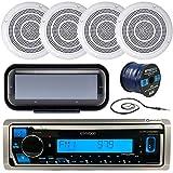 Kenwood Marine KMRD In-Dash Audio Bluetooth CD Player Receiver Bundle Combo w/ Waterproof Shield Cover, 4x 5 Marine Boat White Outdoor Speakers, Enrock Radio Antenna, 16-Gauge 50-Foot Speaker Wire