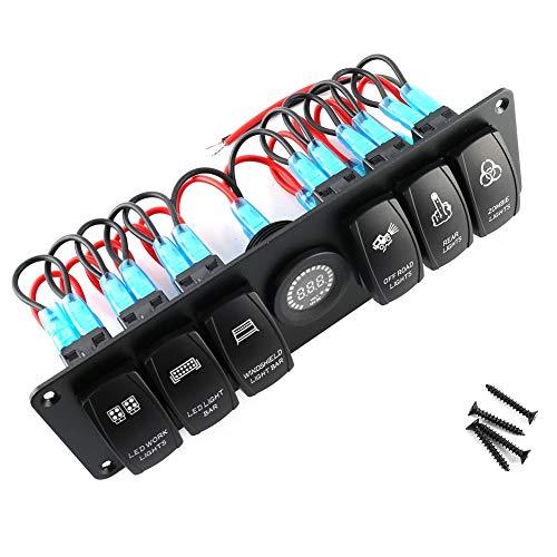 Panel de interruptores basculantes con voltímetro, panel de interruptores basculantes de palanca de 6 bandas, voltímetro LED de colores, apto para vehículos recreativos, para automóviles, para barcos