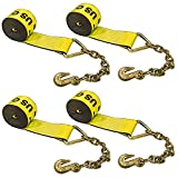 US Cargo Control 4 Inch x 30 Foot Yellow Winch Strap with Chain Extension 4 Pack