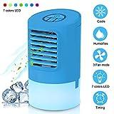 EEIEER Condizionatore Portatile Raffreddatore D'aria 4-in-1 Mini Raffrescatore Evaporativo Umidificatore Purificatore D'aria Climatizzatore Air Cooler con 7 LED Colori, per Casa/Ufficio