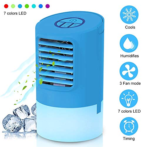 EEIEER Mini Climatizador Portatil, 4 en1 Ventilador, Aire Acondicionado Frio