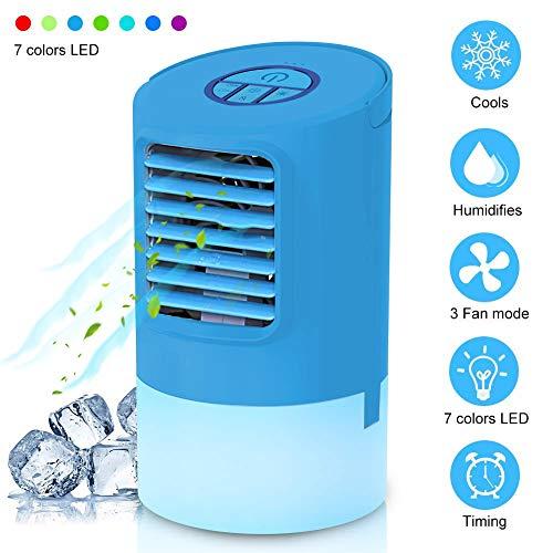 EEIEER Mini Klimaanlage Luftbefeuchter Mobile Klimagerät Air Cooler wasserkühlung Leise Luftkühler Ventilator 24v Persönliche Tragbare Tischventilator Einstellbar 7 Stimmungslichter mit Timer, Blau