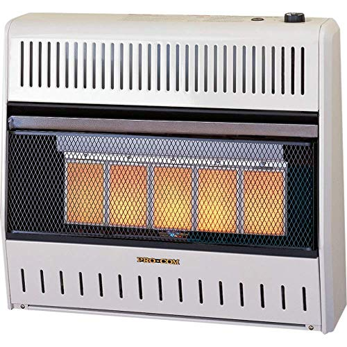 ProCom MNSD5TPA-BB Dual Fuel Ventless Infrared Gas Space Heater with Blower and Base, 5 Plaque,...