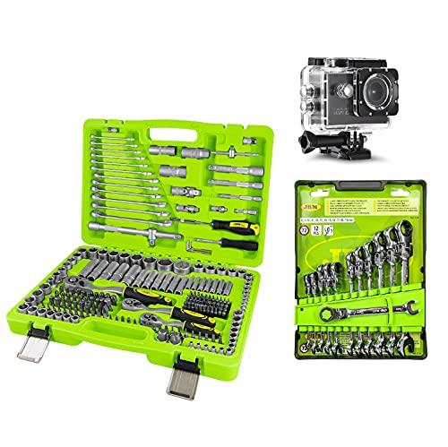 Partenopeautensili Set kit in valigia cassetta di 216 utensili bussole cricchetti chiavi combinate + serie 12 chiavi snodate a cricchetto by JBM