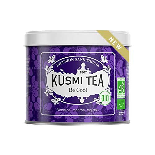 Kusmi Tea - Infusion Bio Be Cool - Mélange de Plantes, Menthe poivrée, Réglisse et Pomme - Tisane Bio, sans Théine, en Vrac - Boîte en Métal de 90g