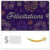 Amazon.ca Gift Card - Félicitations Feux d'Artifice