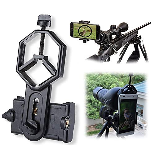 ZJJX Soporte adaptador de teléfono, soporte universal para teléfono móvil, abrazadera para spektive, soporte adaptador de teléfono para spotting, compatible con prismáticos monocular