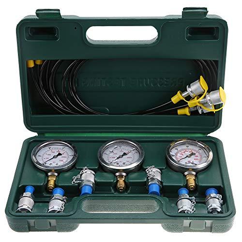 Jacksking Hydraulic Test Set, Pressure Gauge Excavator Hydraulic Pressure Test Kit Examination with Testing Point Coupling and Gauge