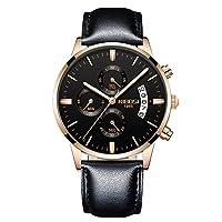 RORIOS腕時計 メンズ腕時計 日付 クォーツ ストップウォッチ おしゃれ 革 夜光 アナログ クロノグラフ腕時計 多機能 ビジネスウォッチ ステンレスデート旅行 通勤 腕時計 ブラックC