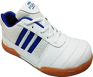 Port Unisex Spark PU Non-Marking White Badminton Shoes