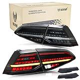 VLAND LED Pilotos Traseros para Golf 7 7.5 MK7 MK7.5 GTD GTI TSI R 2013-2020 Luces traseras, con indicador secuencial,con tecnología Full LED,with EU Emarcado (Ahumado)